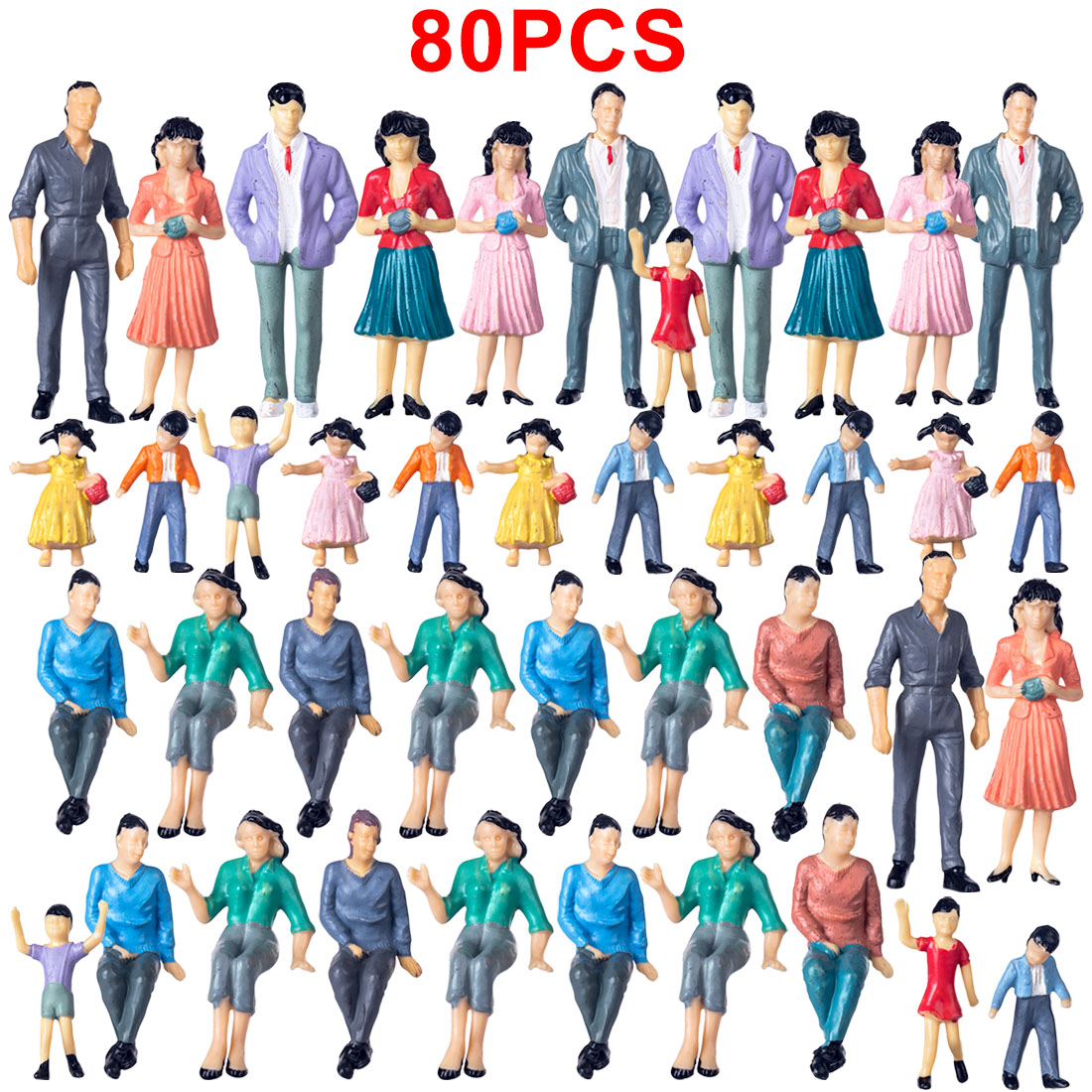 20/40/80pcs 1:25 HO Scale Miniature Figures Model For Train Railway Sand Table - Colorful (Random Type) Model Building Kits