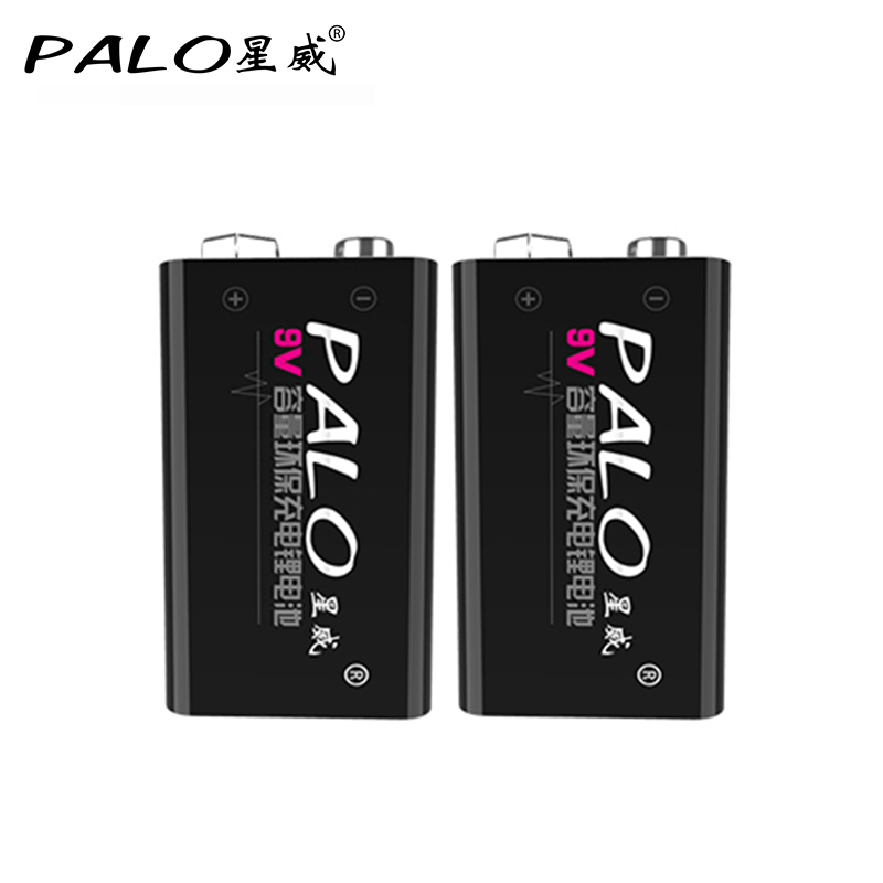 2Pcs/Set PALO battery 9 V batteries 6f22 6F22X 6LR61 9V Li-ion 600mah Rechargeable Battery For Radio,Camera,Toys etc excell 9v 6lr61 alkaline batteries black yellow multicolored 2 pcs