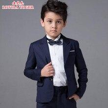 Новое поступление модные для маленьких мальчиков Куртки для детей костюм для мальчика для свадьбы Вечерние темно-синее платье свадебные костюмы для мальчиков 4 шт