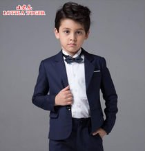 2017 new arrival fashion baby boys kids blazers boy suit for weddings prom formal navy blue dress wedding boy suits 4pcs(China)
