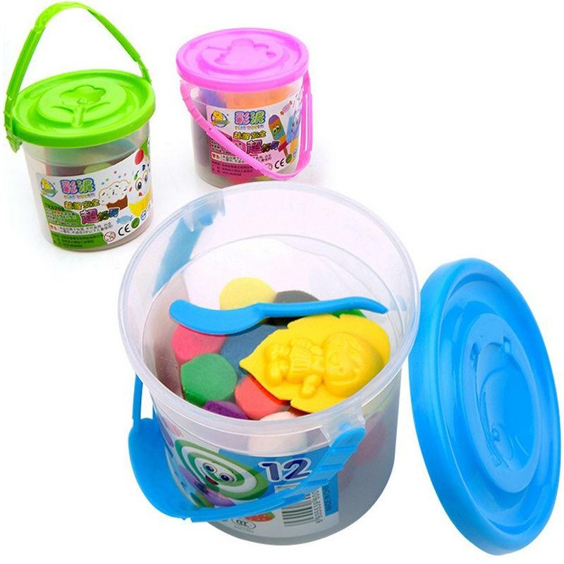 12 värvi pluss värvi muda hallituse unistav lõhn väike ümmargune ohutus plastiliin mänguasi trummid playdough SZJUYI