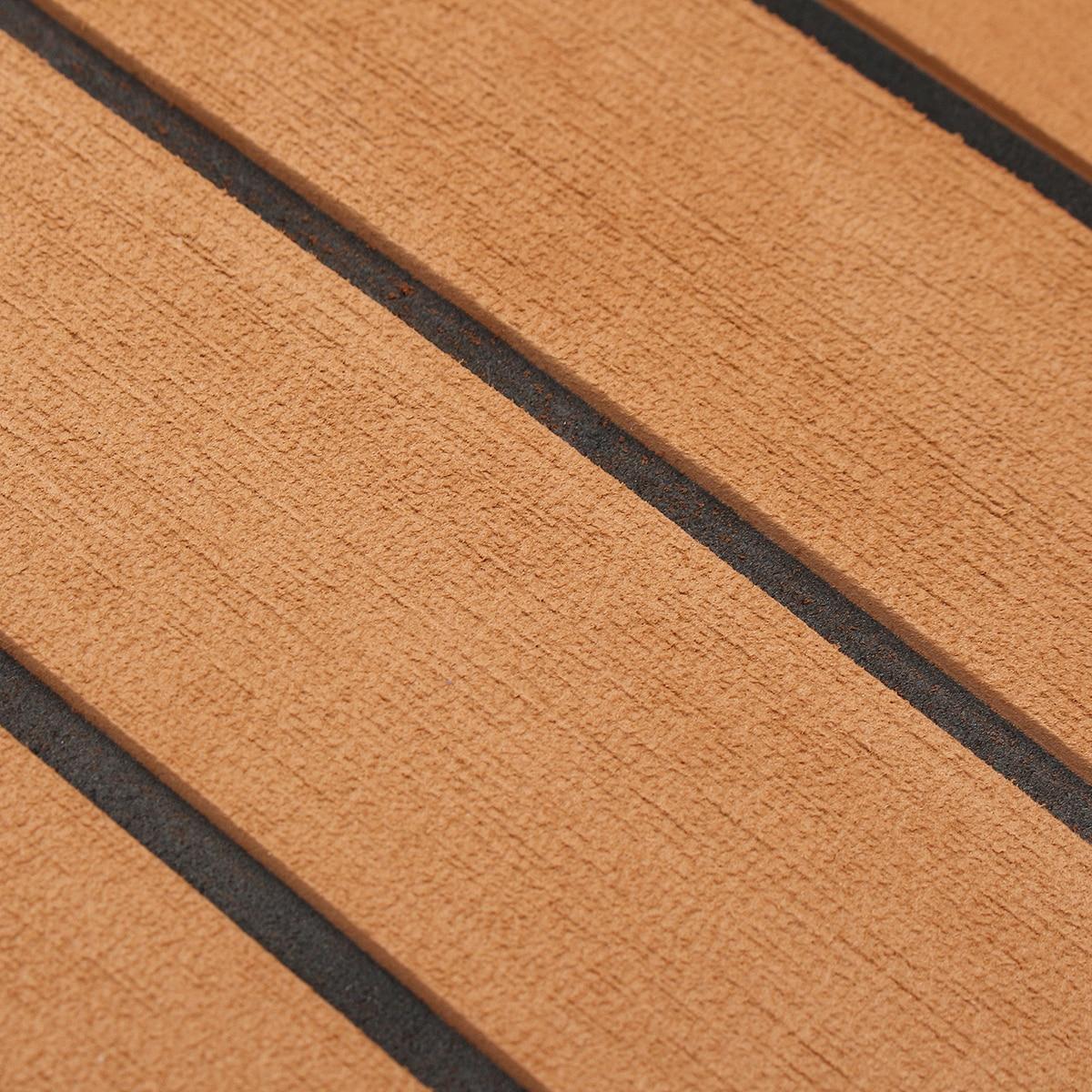 1200mm x 2400mm x 5mm auto-adhésif EVA mousse Faux teck feuille bateau Yacht synthétique teck platelage tapis de sol brun - 6