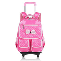 Girls School Backpack With Wheels Kids Travel Trolley Bag Pink Wheeled Bag Pu Leather Children School