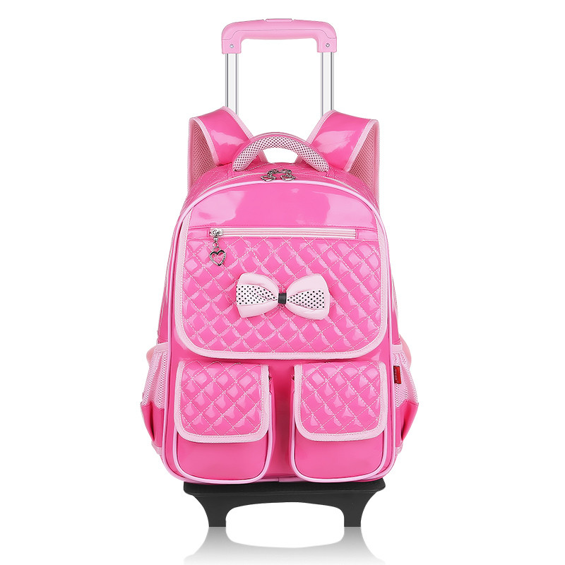 girls school backpack with wheels kids travel trolley bag pink wheeled bag pu leather children school bags for teenagers backbag free shipping hello kitty children school bags mochilas kids backpacks with wheel trolley luggage for girls backpack wholesale