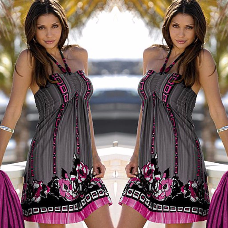 Tittok Summer dress women 2017 dress with print beach dresses Sleeveless sexy floral print maxi dresses above knee T092 4