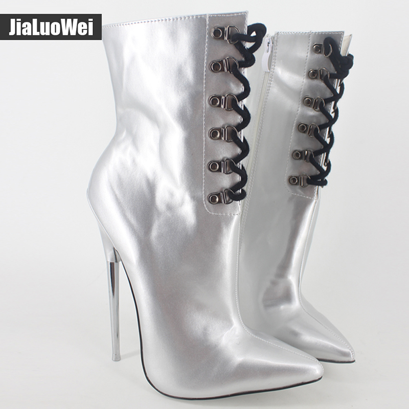 jialuowei 18cm Extreme high heel Sexy fetish Pointed Toe ankle boots unisex martin thin Metal heels