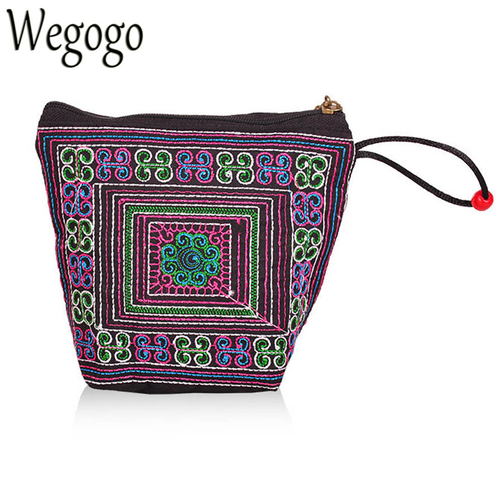 Vintage Coin Purse National Embroidery Cross Stich Ethnic Embroidered Small Key Card Bag Mini Day Clutch Bag Coin Bags