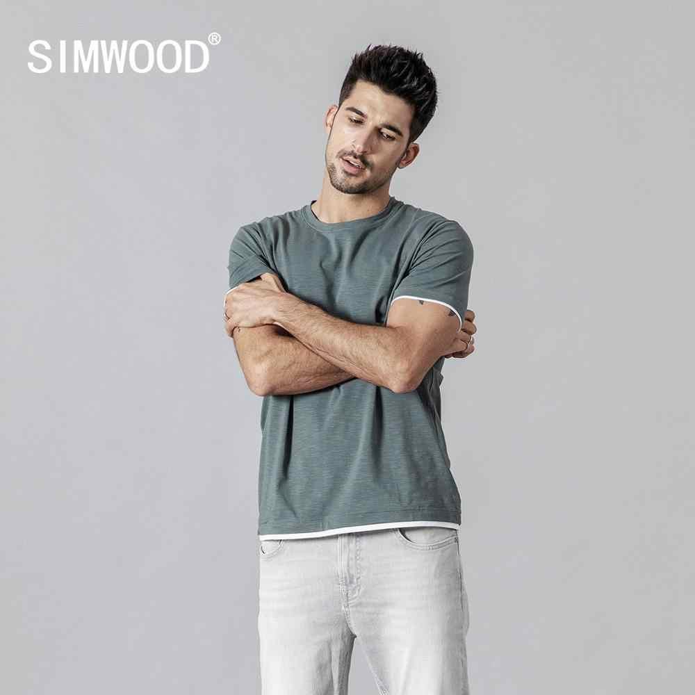 SIMWOOD 2019 夏新 tシャツ男性コントラストバインディング tシャツカジュアル o ネックトップ tシャツ高品質ブランド服 tシャツ 190354