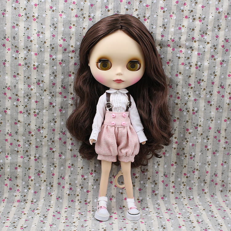 Free shipping Nude Blyth doll brown wavy wig doll toys for girls free shipping nude blyth doll brown wavy wig doll toys for girls
