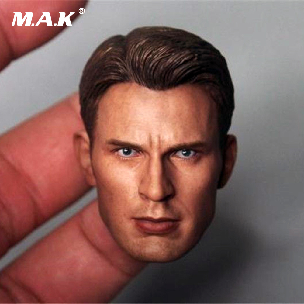 1/6 Scale Captain America Chris Evans Head Sculpt Cool Male Star Head Carving Model Fit 12Collectible Doll Toys Accessories 1 6 soldier clothes death game bruce lee suit head carving fit 12collectible doll toys accessories