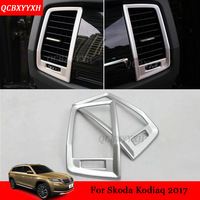 2PCS Car Styling ABS Chrome Air Conditioning Outlet Sequins Decoration Accessories For Skoda Kodiaq 2017 LHD