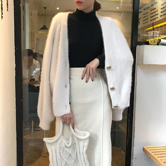 Feminino outono inverno vison veludo branco camisola