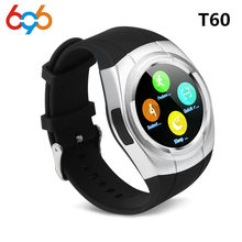 696 T60 Smart Watch Round Nano SIM TF Card With Whatsapp Facebook fitness Business Smartwatch For Android Vs gt08 Pk DZ09(China)