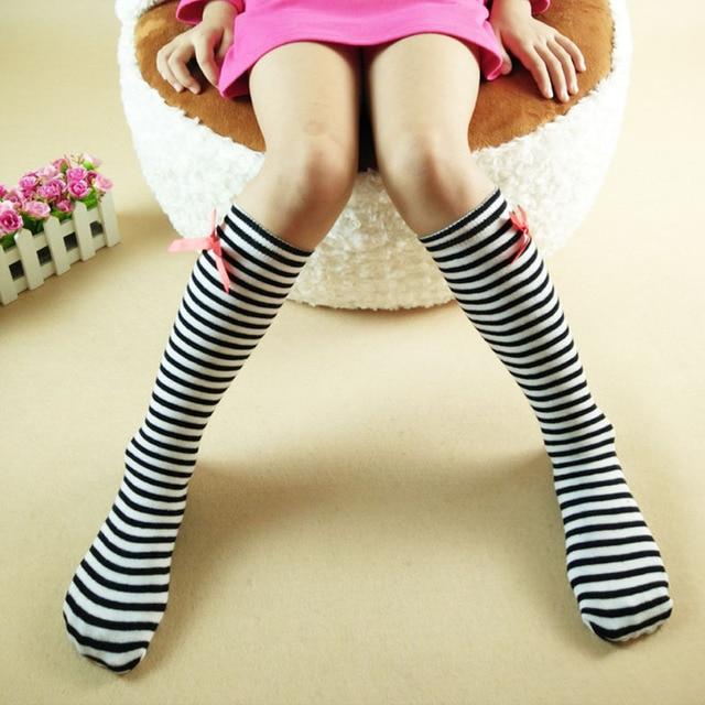 Kids Girls Knee High Socks With Bow Baby Boot Socks Stripe Cute