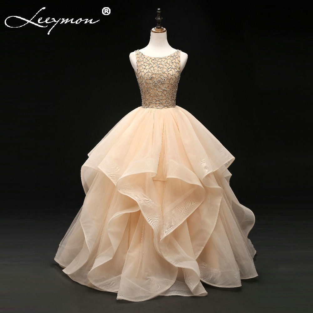 2018 New Champagne Beading Long Tiered Prom Dress Formal Gowns Ruffled Quinceanera Dresses for 15 years for Girls Party Dresses