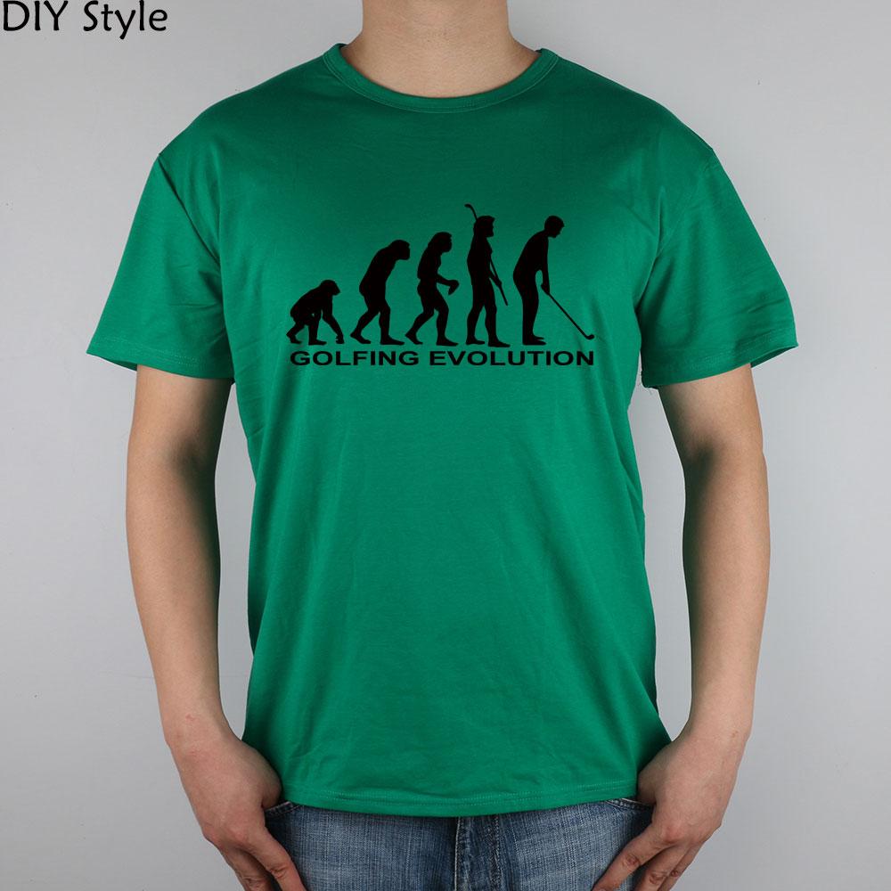 GOLFING EVOLUTION FUNNY T-shirt Top Lycra Cotton Men T shirt New DIY Style