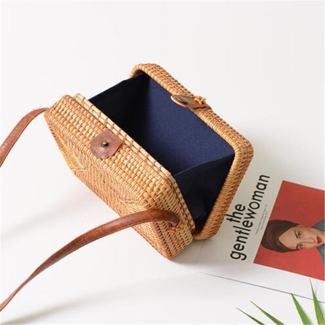Fashion Women Summer Rattan Bags Round Square Straw Bag Handmade Woven Beach Crossbody Bags Circle Bohemia Bali Handbags 3