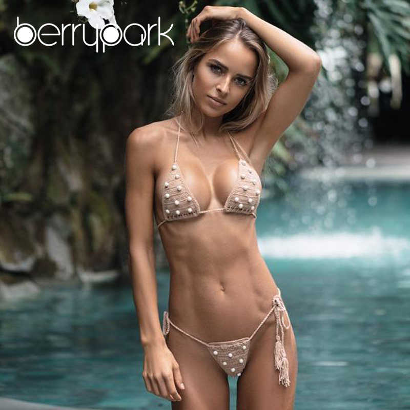 2c88f0578c BerryPark Swimsuit 2019 Summer Pearl Handmade Crochet Bikini Set Women Sexy  Knitted Micro Swimwear Swim Bathing