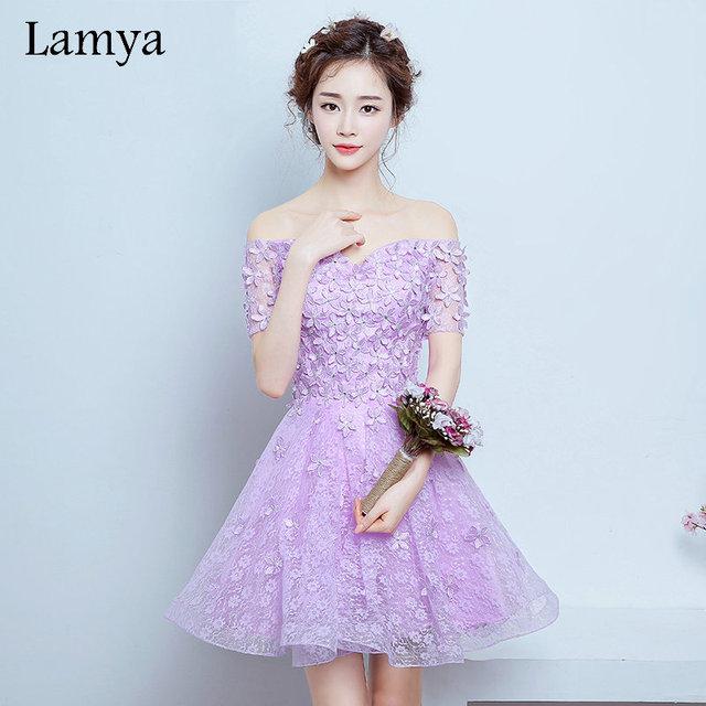 Lamya 2017 Custom Made Elegante Festa À Noite Vestidos Curtos Baratos um line vestido fromal com manga real photo vestidos de Novia