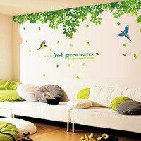 Grande taille 296*120 cm Feuilles Vertes Fraîches Stickers Muraux Vinyle DIY Stickers Muraux pour Salon Canapé Toile de Fond chambre Décor peintures murales