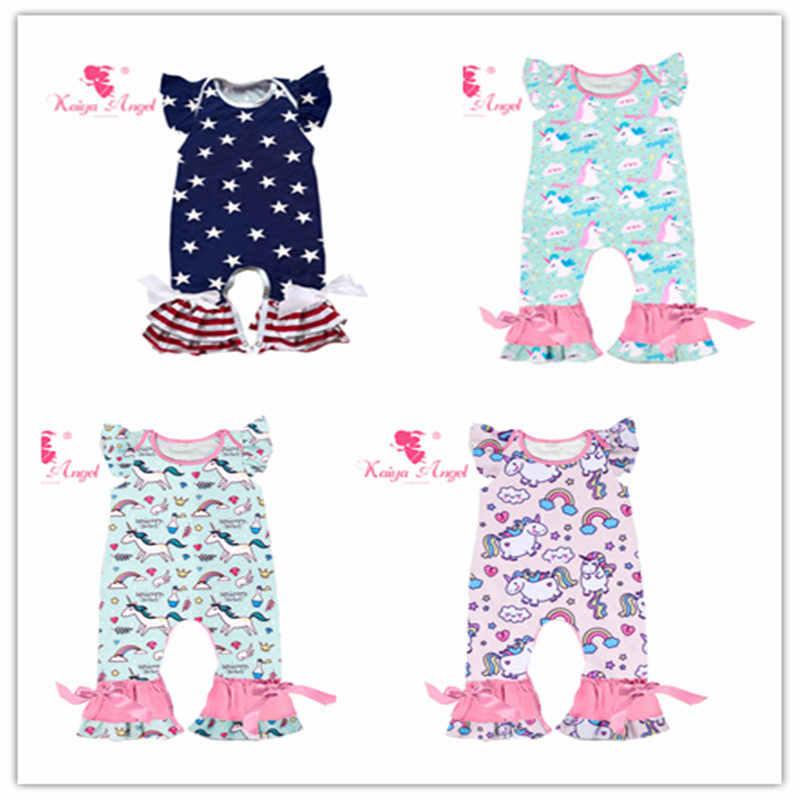 714eabf1c32 Kaiya Angel 2018 Hot Newborn Baby Romper Rainbow Smiley Unicorn 4th Of July  Boys Girls Floral