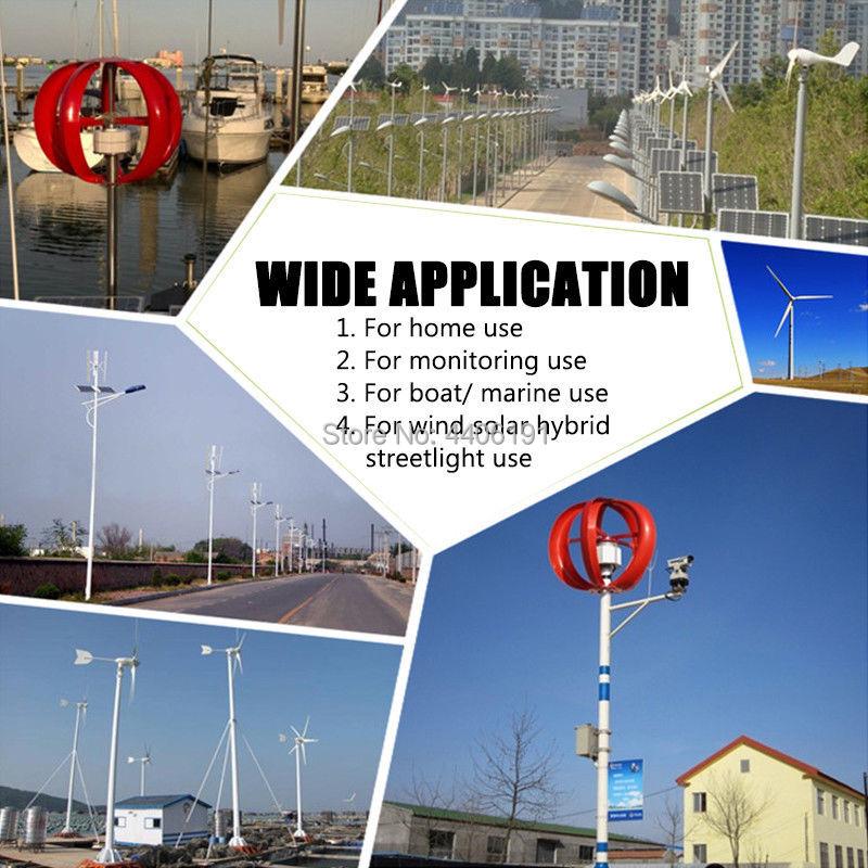 Contrôleur assorti 300W 12V 24V 5 pales axe Vertical éolienne générateur, couleur rouge et blanc en option, expédition rapide - 2