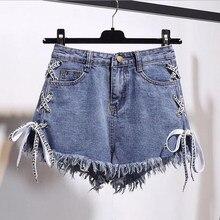41acdf5dbc098 Euro estilo americano y pantalones cortos de verano de las mujeres mujer  azul cintura alta Mujer