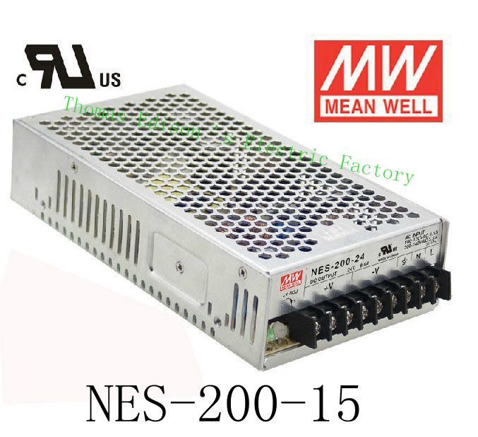 Original MEAN WELL power suply unit ac to dc power supply NES-200-15 200W 15V 14A MEANWELL meanwell 5v 70w ul certificated nes series switching power supply 85 264v ac to 5v dc
