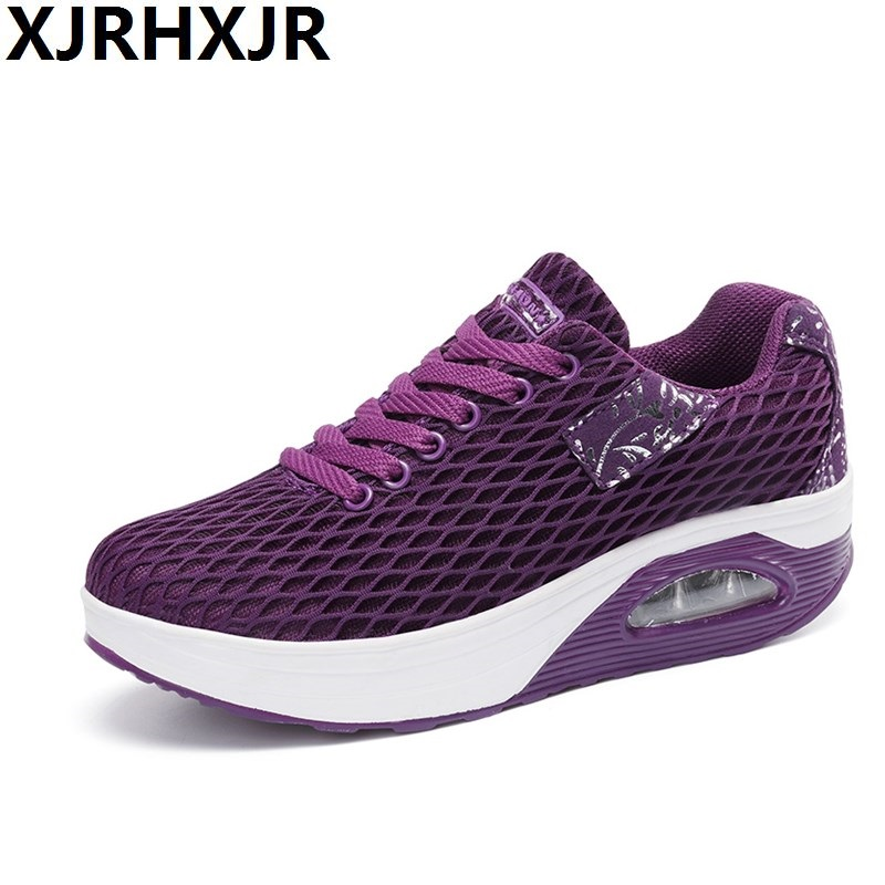 New Breathable Air Mesh Fitness Slimming Shoes Women Lace Up Platform Casual Shoes Low Top Height Increasing Swing Shoes summer shoes women casual fashion height increasing women platform shoes breathable air mesh swing wedges shoe women krasovki