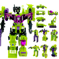 Cool Anime 24CM Big Size Transformation Toys Engineering 6 in 1 Truck Robot Car Devastator Action figure Model Toys Boys Gift