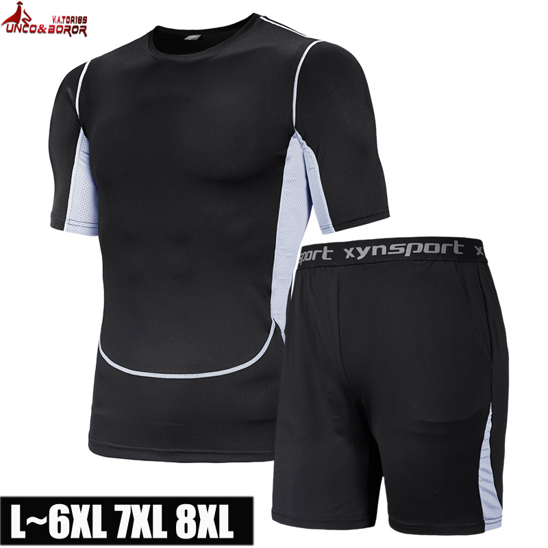 Plus Size 7XL 8XL Summer Men's Sets T Shirts+pants 2pcs Sets Casual Tracksuit Male Tshirt Gyms Joggers Sporting Suit Fitness Men