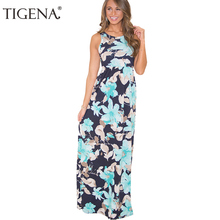 b36488879202 TIGENA Floral Boho Beach Maxi Dress Women 2018 Summer Dress And Sundress  Tunic Long Party Dress