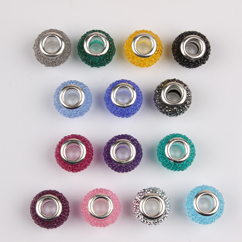 HOMOD Mix 10pcs Fashion Glass Resin Beads Charms Fit Pandora Charms Bracelets & Necklaces For DIY Women Jewerly