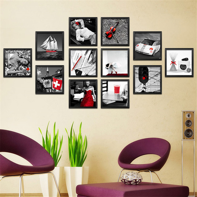 20 Optional Pictures Painting Wall Sticker Kitchen Walls Oil Red Black White Canvas