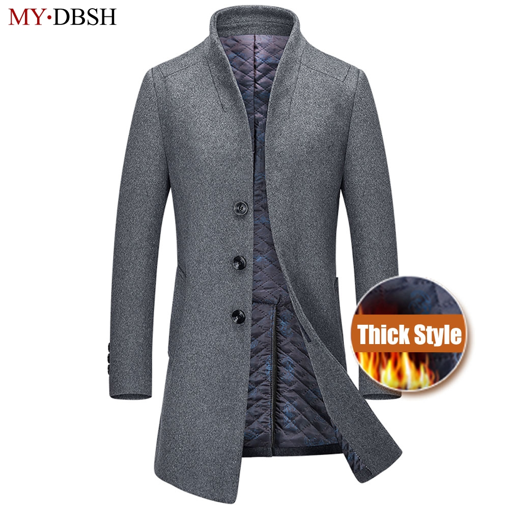 2019 New Winter Men Wool Trench Coat Men's Long Trench Slim Fit Overcoat High Quality Men Coats Fashion Casual Trench Outerwear