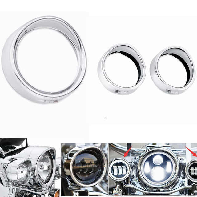 New Motorcycle Chrome 7″ Inch Headlight Trim Ring Visor Style Fits for Harley Touring Road King Electra Glide Softail FLD/FLH
