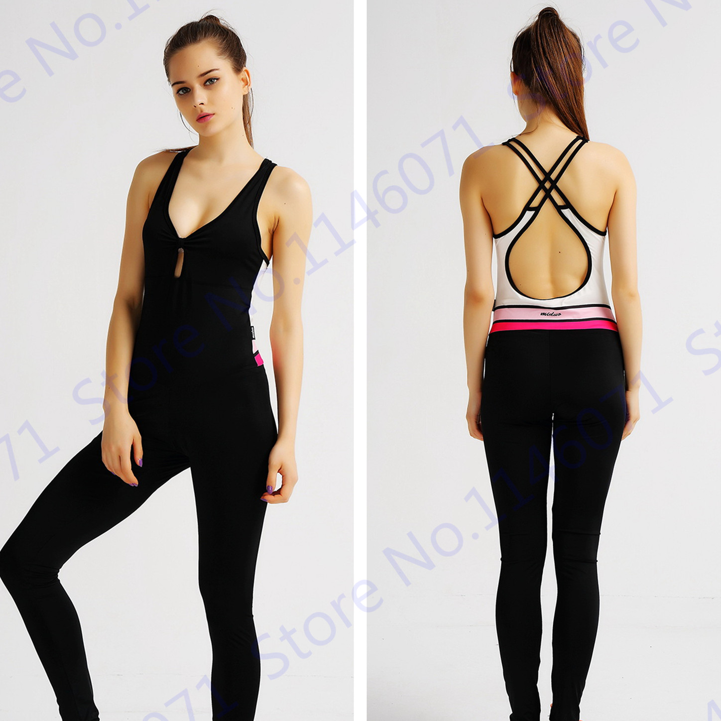 Black Running Rompers Jumpsuit Sexy