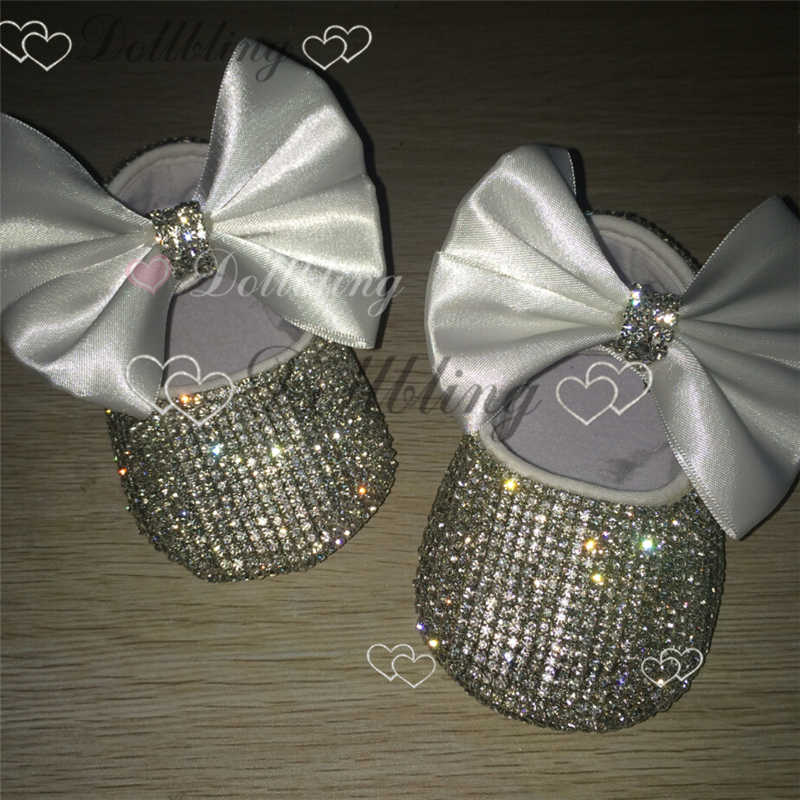 Christening Bling White bow Sequins Handmade Chain crystal baby shoes  baptism ETSY supplier custom for buyer 8285b75fa30a