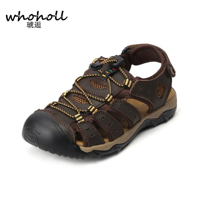 Whoholl حجم 38-48 الرجال الصنادل جلد طبيعي أزياء الصيف أحذية الرجال النعال تنفس الصنادل الرجال أحذية السببية