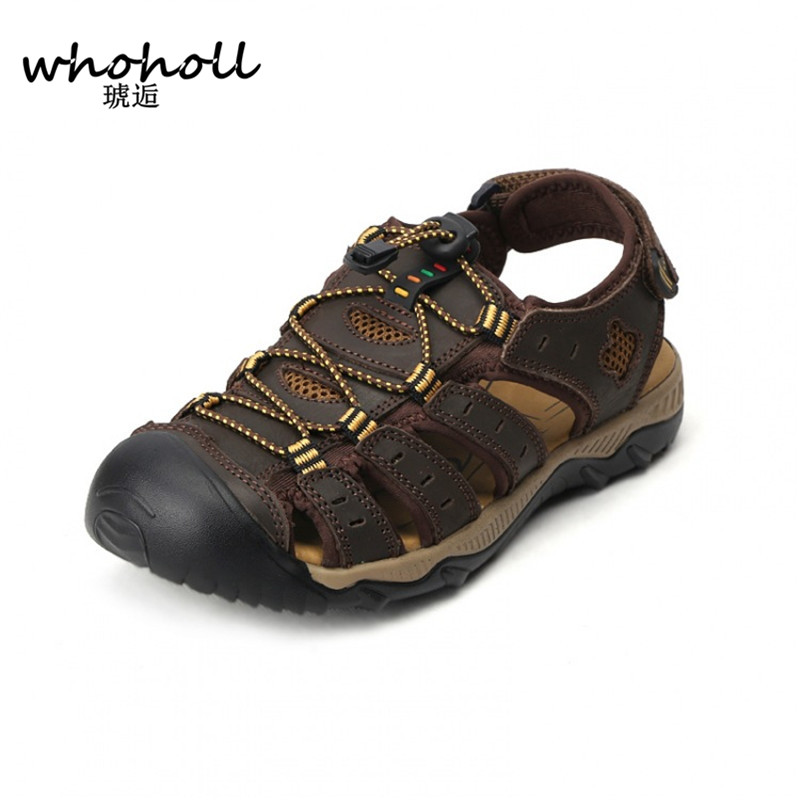 Whoholl Size 38-48 Men Sandals Genuine Leather Fashion Summer Shoes Men Slippers Breathable Mens Sandals Causal Shoes