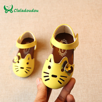 Claladoudou 12 14CM Insole Baby Sandals Beige Cute Cat Toddler Girl Shoes Flower Yellow Sandals Soft