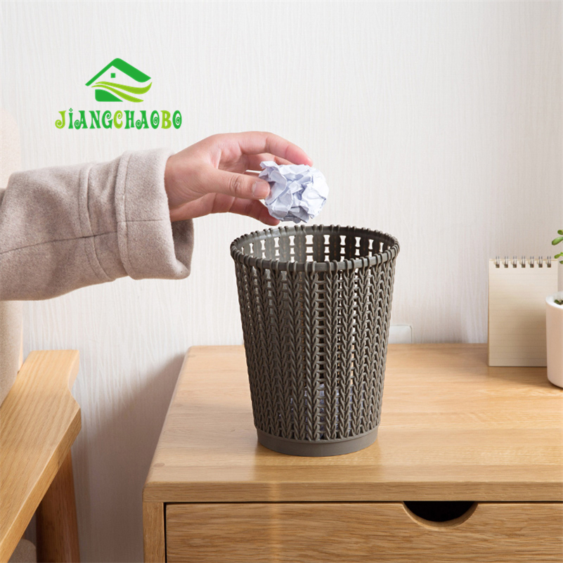 JiangChaoBo Imitation Rattan Hollow Trash Large Garbage Cans Home Kitchen Living Room Plastic Lid Small Paper Basket