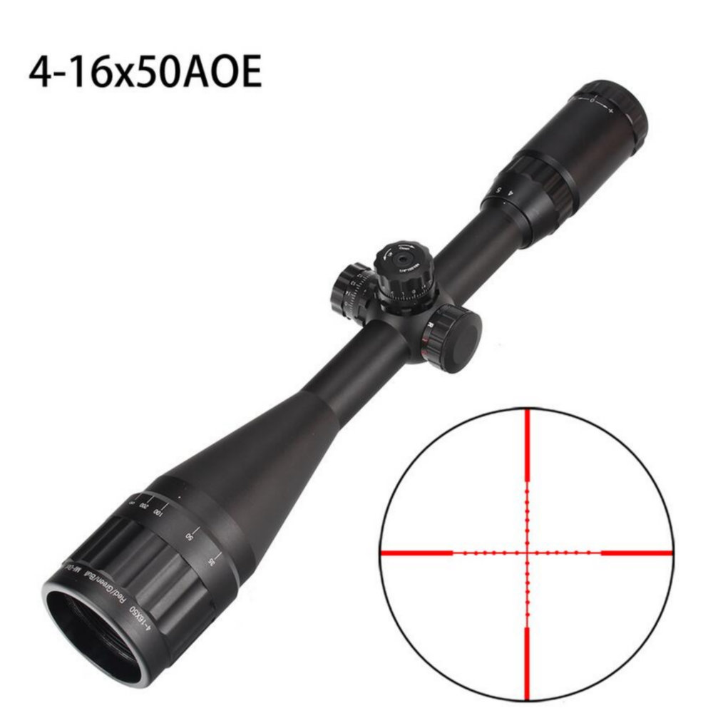 Hunting 4-16X50 AO Riflescope Tactical Optical Sight Full Size Mil Dot Red Green Blue Llluminate Reticle Turrets Lock Scope