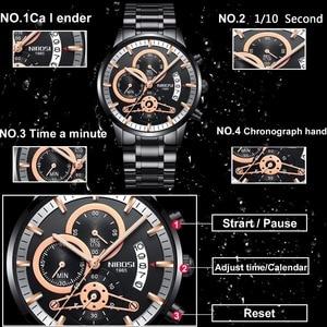 Image 2 - Nibosi relógio de pulso automático masculino, relógio de quartzo marca de luxo dourado com data, luminoso, calendário, relógio de pulso