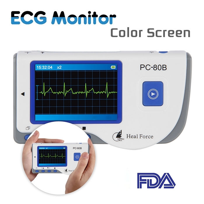 Household Health Monitors Heal Force PC-80B ECG Monitor Measuring Heart Cardiac Detector LCD Electrocardiogram Heart Monitor health care ce easy handheld ecg ekg portable mini pc 80b lcd heart ekg monitor continuous measuring function usb