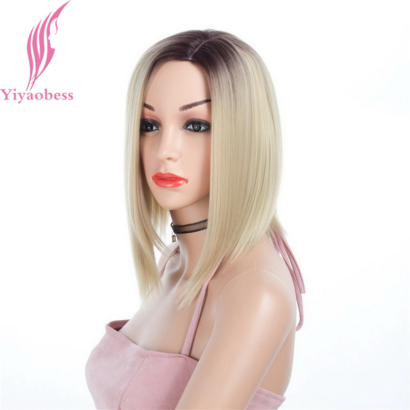 Yiyaobess 14inch Dark Root Short Blonde Ombre Wig Synthetic Natural Hair Straight Woman Wigs For African Americans Free Shipping