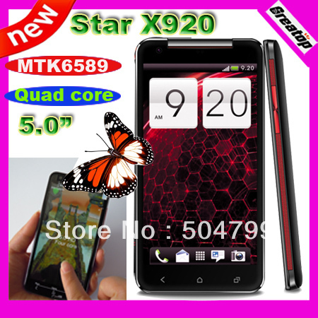 """Star X920 Quad core cell phone 5.0""""IPS 1280x720 Android 4.2.1 MTK6589 Dual Sim 1GB RAM+8GB + stand cover SG post free shipping"""