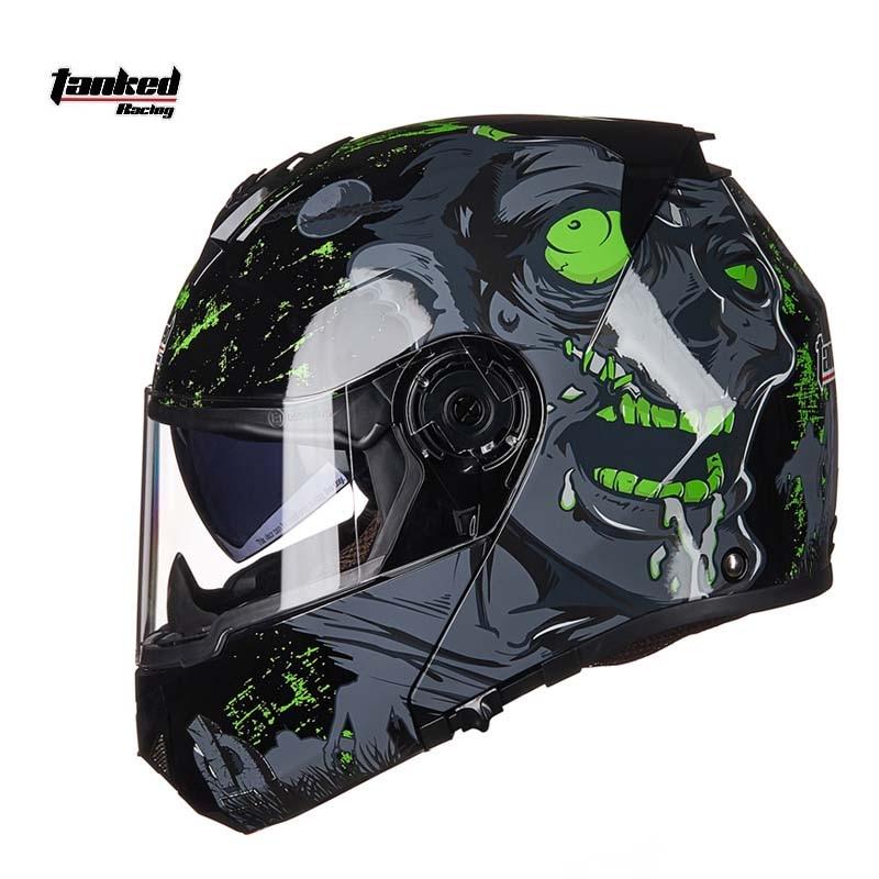 2018 New StyleTanked Racing Motorcycle Helmet Flip Up MOTO Open Face Dirt Biker Motorbike Motocross Off Road Safety Helmets