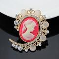 Mulheres Do Vintage Cameo Broche de Strass Pinos Broche de Opala CC Bonita Rainha Da Beleza Luxuoso Palácio Jóias Acessórios