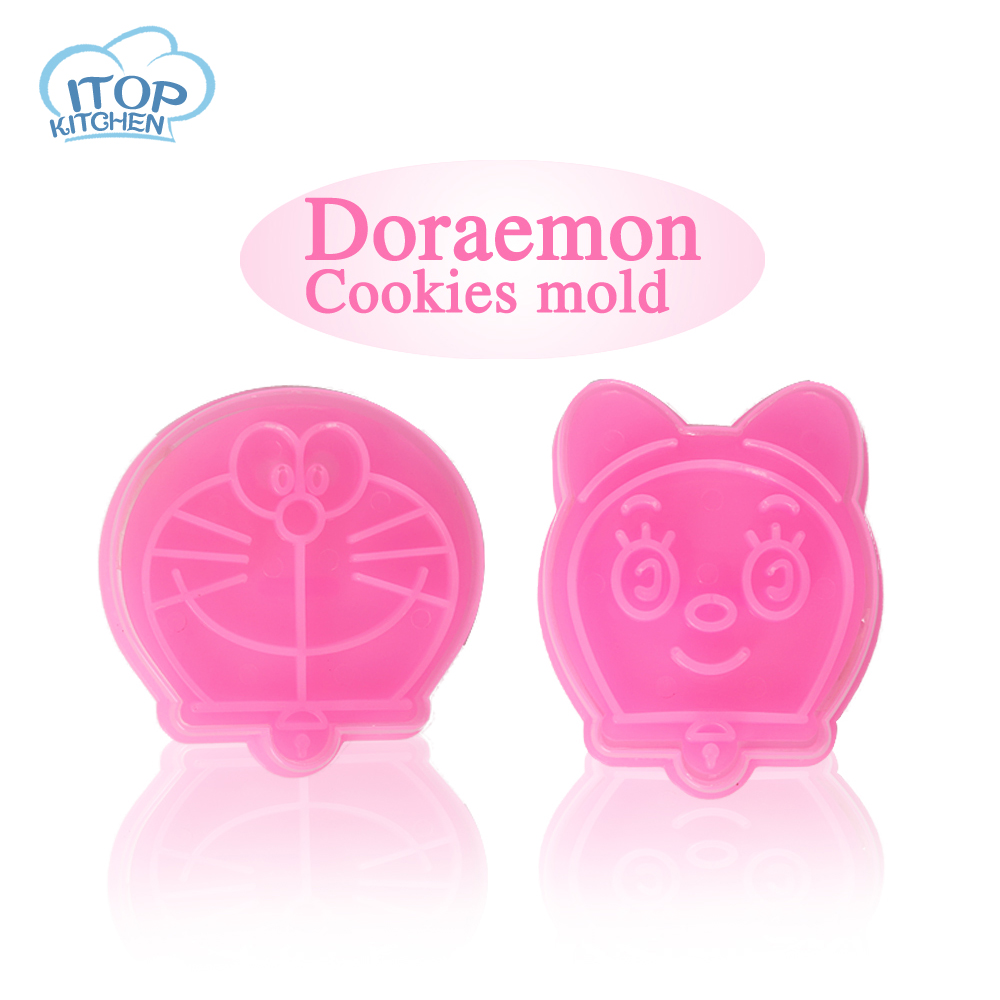 ITOP Doraemon Cookie mold Pokonyan cat Cookie Fondant Cake Sugarcraft Choco Decorating Plunger Cutter Mold